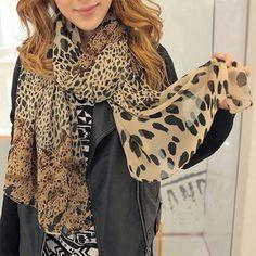 Cachecol Feminino Leopard Scarf