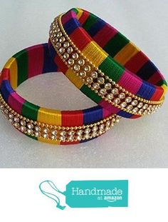 Multicolor wrapped silk thread bangles with rhinestone chain and ball chain Silk Thread Earrings Designs, Silk Thread Bangles Design, Silk Thread Necklace, Silk Bangles, Beaded Necklace Patterns, Bridal Bangles, Thread Jewellery, Fabric Jewelry, Jewelry Patterns