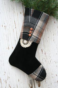 Christmas STOCKING Plaid Tartan Wool Black Velvet by EmmaDear