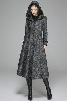 Navy blue wool coat maxi women winter coat 1423 by xiaolizi | Tops ...