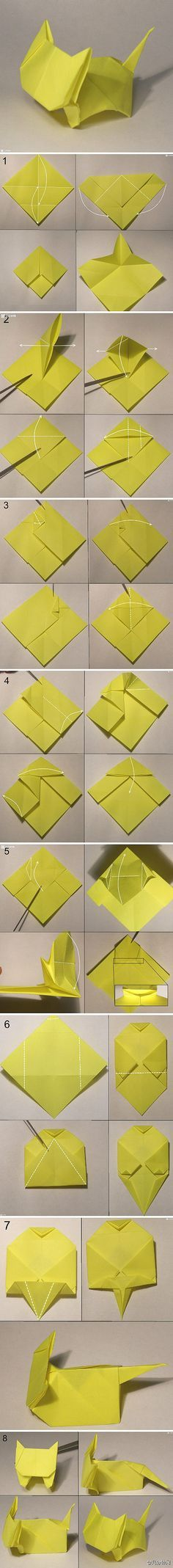 We've always wanted to build origami shapes, but it looked too hard to learn. Turns out we were wrong, we found these awesome origami tutorials that would allow any beginner to start building origami shapes. Source by Gato Origami, Instruções Origami, Origami And Kirigami, Origami Paper Art, Diy Paper, Paper Crafts, Simple Origami, Origami Tattoo, Origami Bookmark