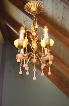 Fab! Vintage~FRENCH OPALINE Petite PINK CHANDELIER~Macaroni BEADED~Bobeches~Tole