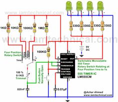 Switchable Monostable 555 Timer Circuit at Four Rotary Switch Position 1ms to1s | IamTechnical.com