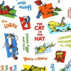 * Dr Seuss Fabric - Story Titles - Celebrate Seuss - Robert Kaufman - Cotton | eBay