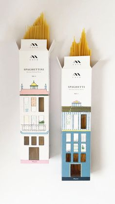 A Student Concept for Pasta Packaging with House Illustrations / World Brand & Packaging Design Society