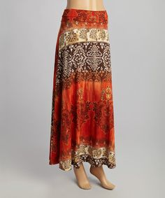 Another great find on #zulily! Rust & Brown Abstract Maxi Skirt by Illa Illa #zulilyfinds