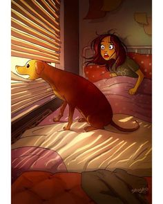 Yaoyao Ma Van As, cane, Yaoyao Ma Van As illustrazioni, Yaoyao Ma Van As illustration, Yaoyao Ma Van As living with a dog Cartoon Kunst, Cartoon Art, Character Art, Character Design, Living With Dogs, Dog Illustration, Digital Illustration, Girl And Dog, Aesthetic Art