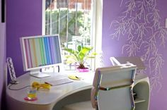 White Office Corner Desk for Colorful Office