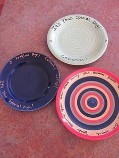 Personalize plates with ceramic paint from Michael's and bake to set. From decorallure.blogspot.com