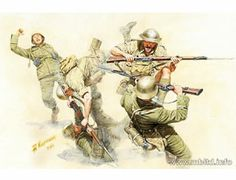 The Master Box Battles in North Africa Kit 1 Model Figures in 1/35 scale from the plastic figure models range accurately recreates the real life British and German infantry from World War II.  This plastic figures kit requires paint and glue to complete.