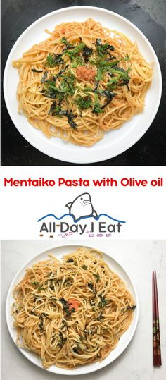 Mentaiko Pasta with Olive Oil and Shiso - All Day I Eat - like a shark Easy Japanese Recipes, Asian Recipes, Ethnic Recipes, Japanese Style, Japanese Food, Japanese Noodles, Asian Noodles, Gourmet Recipes, Cooking Recipes