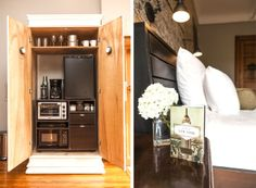 Nice armoire turned into mini bar / kitchen. Perfect for this guest room but could work in many rooms!