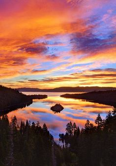 Sunset over Emerald Bay State park, California, USA