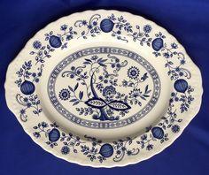 Enoch Wedgwood Tunstall Blue Heritage Platter Onion Pattern 12 1/4 Inch England
