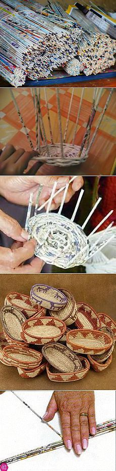 Notions de base du tissage de journaux et de magazines . Newspaper Basket, Newspaper Crafts, Weaving Projects, Craft Projects, Diy Paper, Paper Art, Crafts To Make, Arts And Crafts, Making Baskets