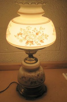 PAIR of Large Victorian Vintage Hurricane Lamps Hand Painted ...