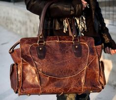 Cowhide Shoulder Bag! Oh Lawd! I love this!!!  Would be an overnight bag for me though lol