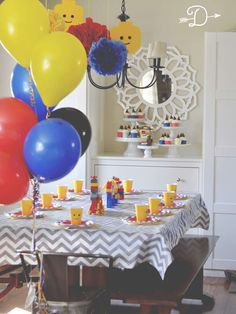 Check Out The Cool Table Settings At This Lego Birthday Party See More Ideas