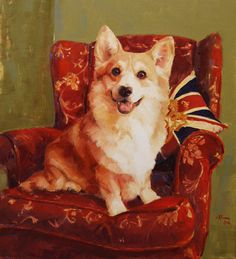 Armchair Corgi by Claire Eastgate Canine Artist at Stockbridge Gallery Dogs in Art