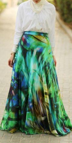 Annah Hariri Whimsical Turquoise Maxi Skirt
