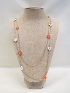 ADO | Orange & White Daisies Gold Chain Necklace Long - All Decd Out