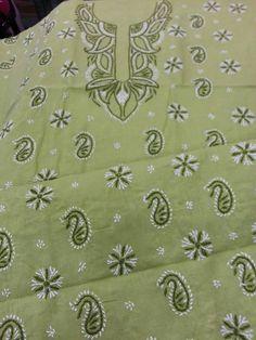 Exclusive lucknavi chikan cotton suit length with designer neckline and chiffon duppata #chikankari $32.99