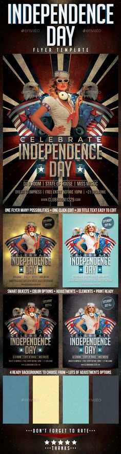 Independence Day - July 4 Flyer Template Flyer template - independence day flyer