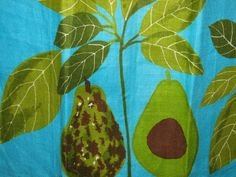 1970's VERA Linen Hand Towel Avocado Tropical by TheIDconnection, $40.00