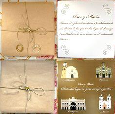 Invitación y detalle para los asistentes a la celebración de unas bodas de Oro. Gift Wrapping, Gifts, Golden Wedding Anniversary, Personalized Gifts, Restaurants, Invitations, Paper Wrapping, Presents, Wrapping Gifts