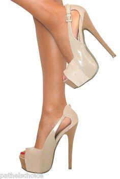 Ladies nude suede platform stiletto high heels | eBay UK