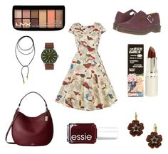 """A Little Birdie Told Me"" by tankytank ❤ liked on Polyvore featuring Dr. Martens, NYX, Vanessa Mooney, TheBalm, Nixon, 1928, Coach and Essie"