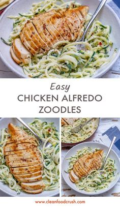Easy Chicken Alfredo with Zoodles (Clean Eating & Anti-Inflammatory Recipe!) - Clean Food Crush Easy Chicken Alfredo with Zoodles (Clean Eating & Anti-Inflammatory Recipe! Healthy Dinner Recipes For Weight Loss, Easy Dinner Recipes, Healthy Snacks, Dinner Ideas, Clean Eating Recipes For Dinner, Healthy Drinks, Clean Eating Dinner Recipes, Simple Meals For Dinner, Eating Clean