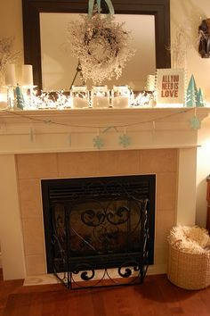 Winter Mantel - Keep those winter white lights going