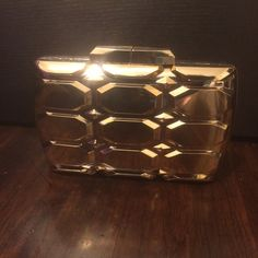 New! Gold Box Clutch Gold box clutch, comes with chain shoulder strap, 8x5  #gold #clutch Bags Clutches & Wristlets