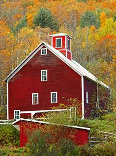 For our 10 year anniversary, we went on a Fall foliage tour of all of the New England states. This is in Woodstock, Vermont. I LOVE Vermont! Country Barns, Country Life, Country Living, Country Roads, Le Vermont, Farm Barn, Red Barns, Old Buildings, Rustic Barn