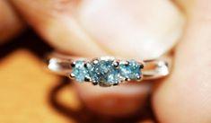 110 ct blau Uncut Diamant-Ring blauer Diamant-Ring blau