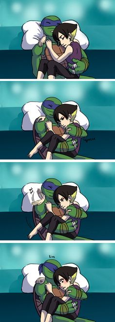 Clingy Sleeper by BrushBell on deviantART<<<-they were on the rooftops looking for kraang action but Karai fell asleep so Leo picked her up and took her home