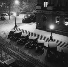 Winter night at the Municipal Theatre in Zurich, Switzerland. By Gotthard Schuh, c. 1935