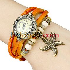 Women's Star Fish Pendant Leather Band Quartz Analog Bracelet Watch (Assorted Colors) : Online Shopping for Watches, Toys & more