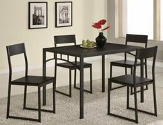 Coaster 120569 Coaster 5 Piece Dining Set by Coaster Home Furnishings. $221.00. Chic yet simple, this five piece dining set will enhance your breakfast nook or dining room. The table features clean lines and sleek straight legs, adding to casual contemporary designs. The four matching side chairs offer subtle curved back, The group comes in a deep cappuccino finish.