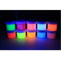 10 Color Set UV Black light .5oz/15ml (5oz/150ml), Neon Rave Fluorescent Acrylic Paint GloMania