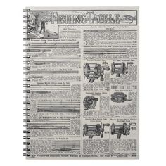 Vintage Fishing Tackle and Reels Spiral Notebook - white gifts elegant diy gift ideas