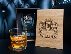 Personalized family coat of arms whiskey gift set . Coaster and glass and 3 whiskey stones in personalized wood box. Whiskey Gift Set, Leather Coasters, Whiskey Decanter, Personalized Coasters, Card Box Wedding, Glass Boxes, Wood Boxes, Coat Of Arms, Italian Leather