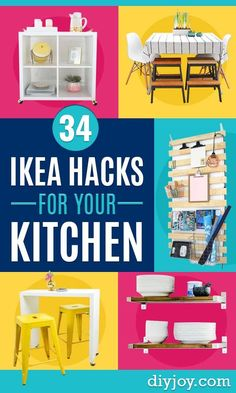 Ikea hacks for your kitchen - diy furniture and kitchen accessories made from ikea - kitchen Diy Home Decor Projects, Cool Diy Projects, Ikea Hacks, Diy Hacks, Do It Yourself Ikea, Diy Kitchen Accessories, Cocina Diy, Ikea Hack Kitchen, Diy Wall Decor
