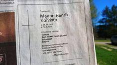 Mauno Koiviston  kuolinilmoitus Turun Sanomissa 21.5.17