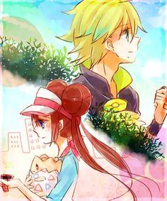 Curtis and Rosa/Pokemon Black and White 2 Pokemon Ships, All Pokemon, Cute Pokemon, Pokemon Stuff, Pokemon Game Characters, Pokemon Games, Pokemon Couples, Anime Couples, Zelda Anime