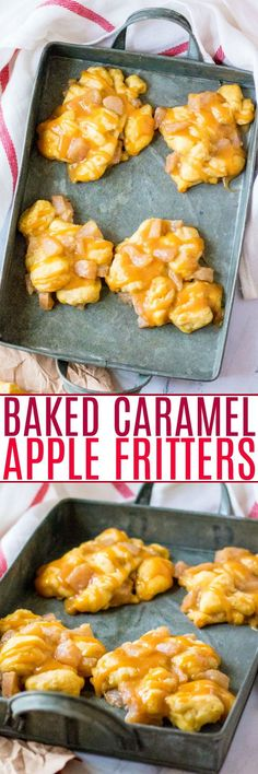 Baked Caramel Apple Fritters - Love the taste of apple fritters but don't want the calories or hassle that comes with frying them? Then these FAST and EASY baked apple fritters made with just four main ingredients are PERFECT!! Baked Apple Fritters, Easy Baked Apples, Apple Fritter Recipes, Trifle Pudding, Best Comfort Food, Cheesecake Desserts, Food Test, Easy No Bake Desserts, Dessert Recipes