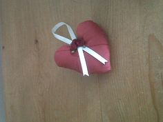 Heart Decoration Home accent Cream red silk Rose by blueberryfudge, £4.99