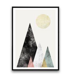 Abstract print Wall print Watercolor art Mountains por Wallzilla