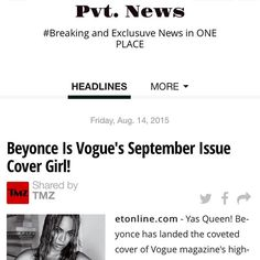 #Beyonce Pvt. News is OUT  http://ift.tt/1CeNjph #PvtNews Or Google #PvtNews